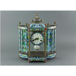 French Cloisonne Table Clock Working Condition