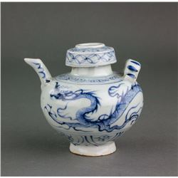 Chinese Blue and White Porcelain Dragon Water Pot