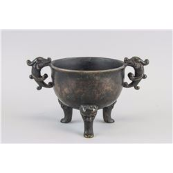 Chinese Bronze Tripod Dragon Ding Vessel with Mark