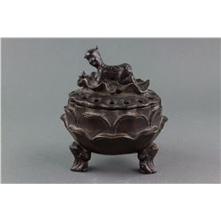 Chinese Bronze Lotus Censer