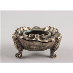 Chinese Silver Plated Bronze Toad Censer Xuande Mk