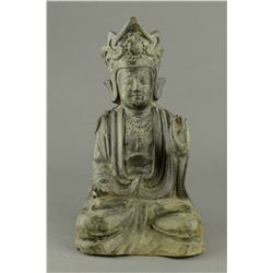 Chinese Old Bronze Buddha Qing Period NR