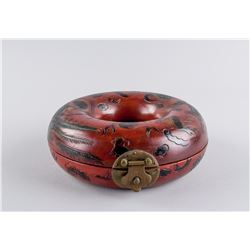 Chinese Red Lacquer Wood Round Tube Box