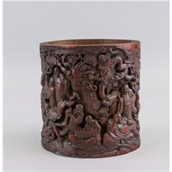 Chinese Bamboo Carved 18 Lohans Brush Pot