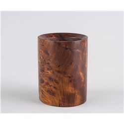 Chinese Burl Wood Carved Brush Pot