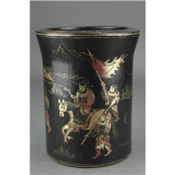 Chinese Lacquer Wood Brush Pot with Kangxi Mark NR