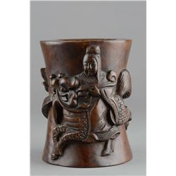 Chinese Qing Dynasty Rosewood Brushpot Chilong