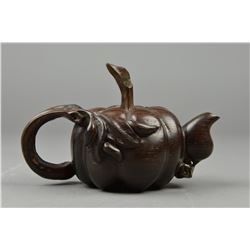 Chinese Carved Rosewood Tea Pot Lobed Form NR