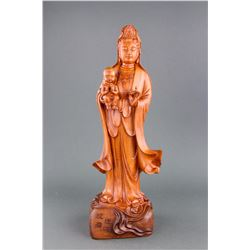 Chinese Fine Wood Carved Guanyin Statue
