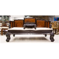 Rosewood Opium Bed w/ Burl Wood Panel Insets