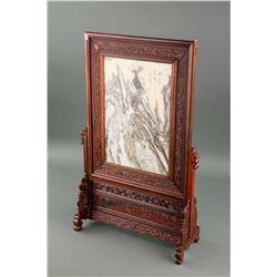 Chinese Marble Screen Panel with Frame and Stand