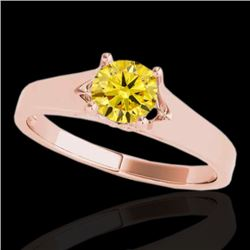 1 CTW Certified SI/I Fancy Intense Yellow Diamond Solitaire Ring 10K Rose Gold - REF-163H6M - 35163