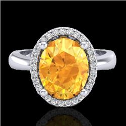 2.50 CTW Citrine And Micro Pave VS/SI Diamond Ring Halo 18K White Gold - REF-50A2V - 21101