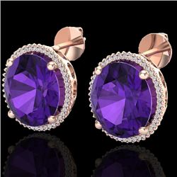 20 CTW Amethyst & Micro VS/SI Diamond Certified Halo Pave Earrings 14K Rose Gold - REF-109N3A - 2026