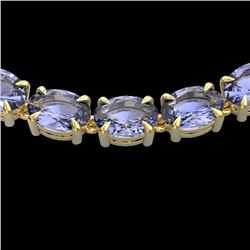 56 CTW Tanzanite Eternity Designer Inspired Tennis Necklace 14K Yellow Gold - REF-631A3V - 23411