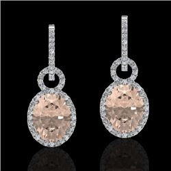 7 CTW Morganite & Micro Pave Solitaire Halo VS/SI Diamond Earrings 14K White Gold - REF-254N5A - 227