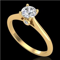 0.56 CTW VS/SI Diamond Solitaire Art Deco Ring 18K Yellow Gold - REF-106M7F - 37282