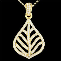 1.25 CTW Micro Pave VS/SI Diamond Certified Necklace Designer 18K Yellow Gold - REF-114K7W - 21286