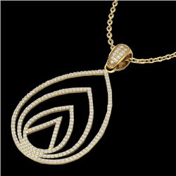 1.25 CTW Micro Pave VS/SI Diamond Certified Designer Necklace 18K Yellow Gold - REF-119Y8X - 22481