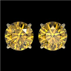 3 CTW Certified Intense Yellow SI Diamond Solitaire Stud Earrings 10K Yellow Gold - REF-555Y2X - 331