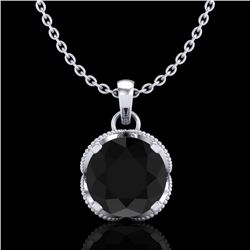 1.13 CTW Fancy Black Diamond Solitaire Art Deco Stud Necklace 18K White Gold - REF-94H5M - 37422