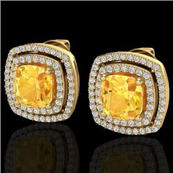 3.55 CTW Citrine And Micro Pave VS/SI Diamond Halo Earrings 18K Yellow Gold - REF-104F2N - 20161