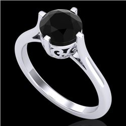 1.25 CTW Fancy Black Diamond Solitaire Engagement Art Deco Ring 18K White Gold - REF-81H8M - 38059