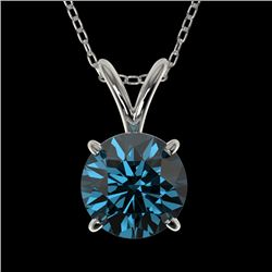 1 CTW Certified Intense Blue SI Diamond Solitaire Necklace 10K White Gold - REF-111K2W - 33188