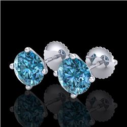 2.5 CTW Fancy Intense Blue Diamond Art Deco Stud Earrings 18K White Gold - REF-354Y5X - 38251