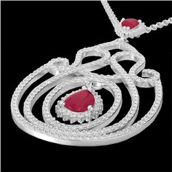3.20 CTW Ruby And Micro Pave VS/SI Diamond Heart Necklace 14K White Gold - REF-162F4N - 22439