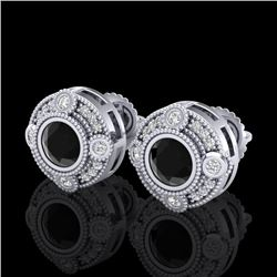 1.50 CTW Fancy Black Diamond Solitaire Art Deco Stud Earrings 18K White Gold - REF-116R4K - 37695