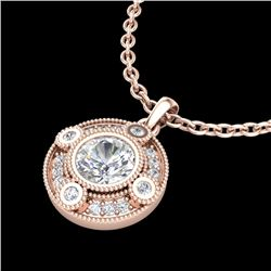 1.01 CTW VS/SI Diamond Solitaire Art Deco Stud Necklace 18K Rose Gold - REF-221F8N - 36984