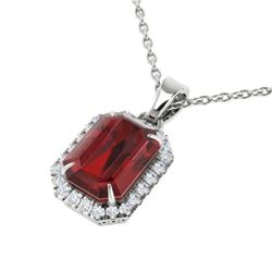 6 CTW Garnet And Micro Pave VS/SI Diamond Certified Halo Necklace 18K White Gold - REF-50H9M - 21361