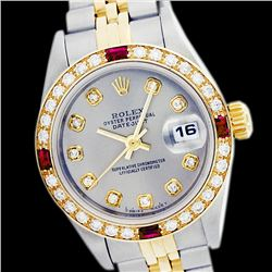 Rolex Men's Two Tone 14K Gold/SS, QuickSet, Diam Dial & Diam/Ruby Bezel - REF-557K5T