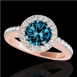 1.65 CTW SI Certified Fancy Blue Diamond Solitaire Halo Ring 10K Rose Gold - REF-200R2K - 33478