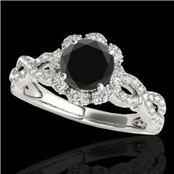 1.69 CTW Certified VS Black Diamond Solitaire Halo Ring 10K White Gold - REF-89H3M - 34108