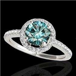 1.40 CTW SI Certified Fancy Blue Diamond Solitaire Halo Ring 10K White Gold - REF-172A7V - 34101