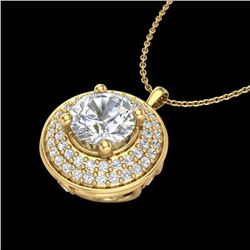 1.25 CTW VS/SI Diamond Solitaire Art Deco Necklace 18K Yellow Gold - REF-272R7K - 37261