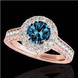 1.70 CTW SI Certified Fancy Blue Diamond Solitaire Halo Ring 10K Rose Gold - REF-178N2A - 33730