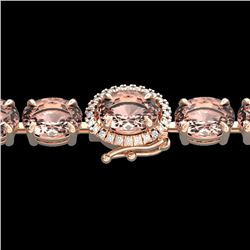 26 CTW Morganite & VS/SI Diamond Tennis Micro Halo Bracelet 14K Rose Gold - REF-285X3R - 23432