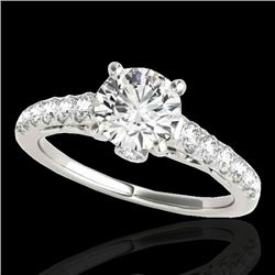 1.50 CTW H-SI/I Certified Diamond Solitaire Ring 10K White Gold - REF-214W5H - 34988