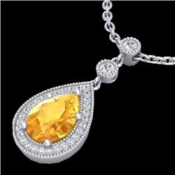 2.25 CTW Citrine & Micro Pave VS/SI Diamond Certified Necklace 18K White Gold - REF-46V2Y - 23130