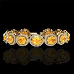 24 CTW Citrine & Micro Pave VS/SI Diamond Certified Bracelet 10K Yellow Gold - REF-360A2V - 22685