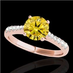 1.25 CTW Certified SI/I Fancy Intense Yellow Diamond Solitaire Ring 10K Rose Gold - REF-200A2V - 348