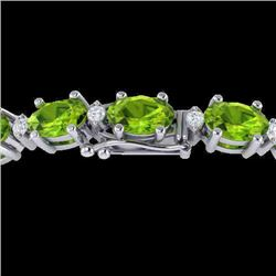 26.3 CTW Peridot & VS/SI Certified Diamond Eternity Bracelet 10K White Gold - REF-174F4N - 29457