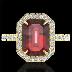 6.03 CTW Garnet And Micro Pave VS/SI Diamond Certified Halo Ring 18K Yellow Gold - REF-62H2M - 21429