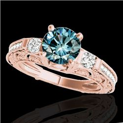 1.38 CTW SI Certified Blue Diamond Solitaire Antique Ring 10K Rose Gold - REF-174K5W - 34645