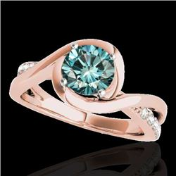 1.15 CTW SI Certified Fancy Blue Diamond Solitaire Ring 10K Rose Gold - REF-150Y9X - 34841