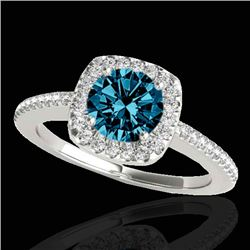 1.25 CTW SI Certified Fancy Blue Diamond Solitaire Halo Ring 10K White Gold - REF-161A8V - 33828