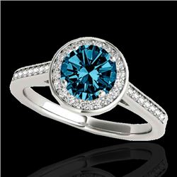1.33 CTW SI Certified Fancy Blue Diamond Solitaire Halo Ring 10K White Gold - REF-174M5F - 33513